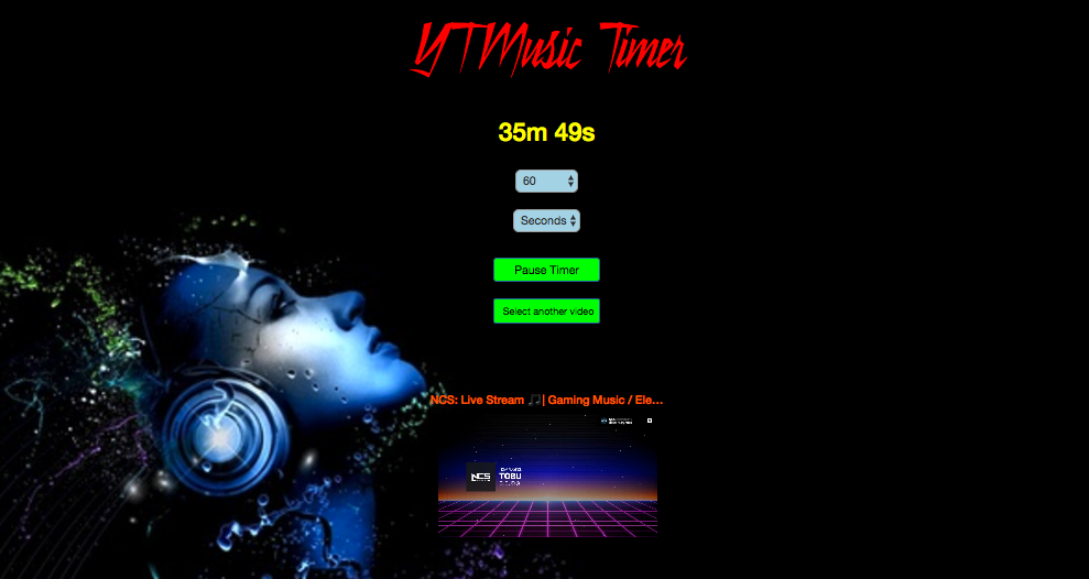 YT Music Timer header